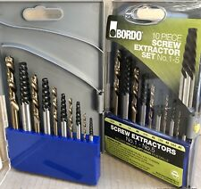 BORDO SCREW EXTRACTORS EASY OUT SET 9900-SM2 10pce + Cobalt LEFT HAND DRILLS