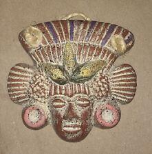 MEXICAN INCA AZTEC POTTERY MAYAN CLAY WARRIOR FOLK ART WALL HANGING 11 CMS LEAF