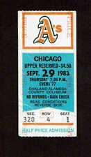 MIKE WARREN NO HITTER TICKET STUB 1983 OAKLAND A'S vs CHICAGO WHITE SOX