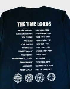 BBC DOCTOR WHO Blue Long Sleeved T-Shirt Size Medium  Double-Sided Graphic