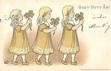 B95253 girl with clover godt nytt ar sweden postcard good new year