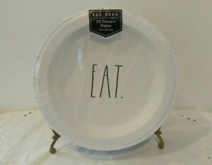 """Rae Dunn Dessert Plates White Disposable Paper 8"""" 50ct """"EAT"""".by Magenta NEW"""