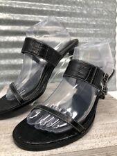 Chaps Sandals Black Leather Straps Buckle Alligator Stamp Woman Heel size 9.5 B