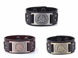 Vintage Wicca Norse Odin's Symbol Valknut Viking Rune Charm Cuff Amulet Bracelet