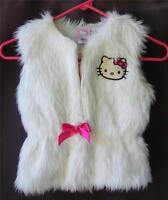 Hello Kitty Faux Fur Vest XS S 3-4 M L 5-6 Fluffy Sleeveless Jacket Pink Sparkle