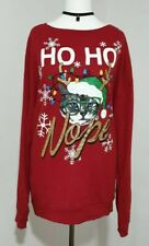 Ladies Christmas CAT Jumper RED Snowflake GOLD Sparkly Glitter UK-16 Festive