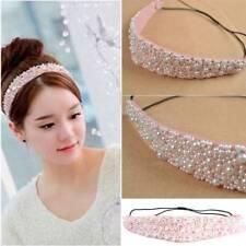 Fashion Pink Faux Pearl Beads Crystal Headband Hairband Elastic Hair Head Band