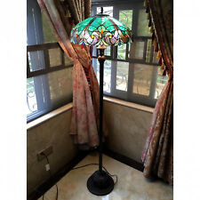 Tiffany Style Floor Lamp Stained Glass Vintage Victorian Design 2 Lights