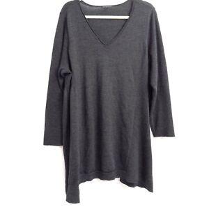 Eileen Fisher 3X Slate Grey Merino Wool V-Neck 3/4 Sleeve Tunic Sweater