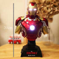 Avengers Iron Man MK43 Bust Statue 1/4 Scale Light up Decoration Model Figure