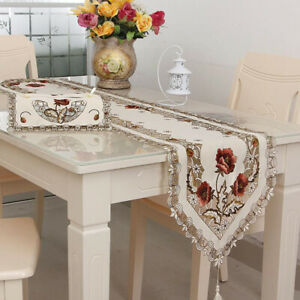 Embroidered Wedding Table Cloth Cover Party Banquet Home Decoration P3