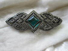 Vtg Antique Art Deco Sterling Silver Pin Brooch Marcasite & Green Stone 9.7g