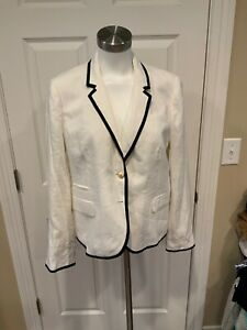 "J. Crew White Linen ""Schoolboy"" Blazer, Size 14, New!"