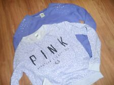 VS Victoria's secret PINK ~  crew sweatshirt  top shirt ~ XS bling lot of 2