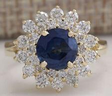 2.71 Carat Natural Sapphire 14K Yellow Gold Diamond Ring