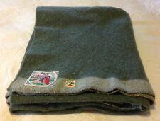 Vtg 1950s Dutch Army Military Blanket BEMO Green Grey Stripes Holland Stripe