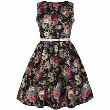 LINDYBOP KIDS MINI AUDREY BLACK FLORAL VINTAGE ROCK N ROLL SWING DRESS 9-10 YRS