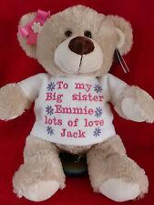 PERSONALISED BIG LITTLE SISTER BIRTHDAY NEWBABY CHRISTMAS OATMEAL  BEAR GIFT