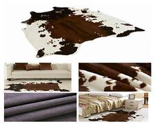 Large Cowhide Zebra Area Rug Tricolor Cowskin Cow Hide Faux Leather Carpet