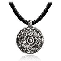 Geometrie Anhänger Silber tibetischer Yoga Vintage Wicca Blume Halskette