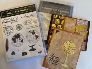 Stampin' Up BEAUTIFUL WORLD Stamps, WORLD MAP Dies, Cards, Card Pack