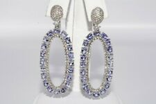 $900 10.60CT NATURAL TANZANITE & TOPAZ CLUSTER DANGLE EARRINGS .925 SILVER