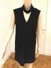 H of S Women's Black Ribbed Tunic Size 6 Like New