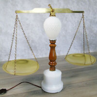VTG Hobnail Milk Glass Scales Of Justice TABLE LAMP Mid Century Wood Brass Light