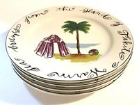 SET OF 4 Rosanna Plates Palm Tree Tropical Beach Islands For Dessert OR Salad