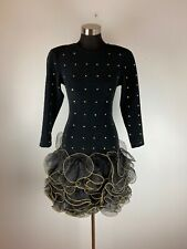 Vintage Tadashi Womens Party Dress XS Black Gold Studded Ruffle Skirt Short