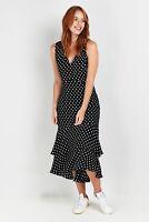 Wallis Womens Black Polka Dot Print Tiered V-Neck Fit & Flare Dress Sleeveless