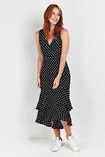Wallis Womens Black Polka Dot Print Tiered V-Neck Skater Dress Sleeveless