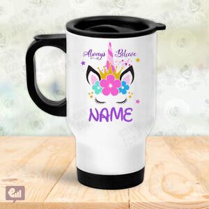Personalised UNICORN Always Believe Thermal Travel Mug Flask Coffee Tea Gift