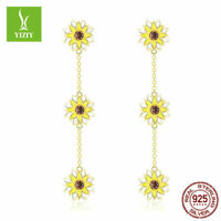 Sunflower 925 Sterling Silver Earrings With Gold Plated Women Fashion Jewelry