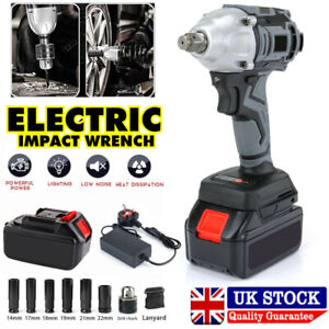 """Cordless Impact Wrench 1/2"""" Impact Driver Ratchet Rattle Nut Gun With Battery UK"""