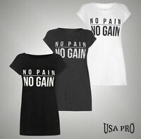 Ladies USA Pro Training Large Slogan Print T Shirt Crew Top Sizes from 8 to 18