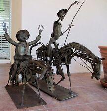 "Vintage Scrap Metal Sculpture Don Quijote de la Mancha 34"" H & Sancho Panza 26""H"