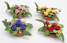 NEW Set Of 4 Dolls House Miniature 1:12 Scale Flowers In Ceramic Pot FREE P&P