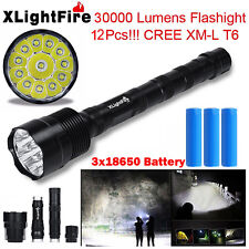Super Bright 30000LM 12xCREE XML T6 5-Mode LED Flashlight Torch+3X 18650 Battery