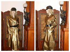 Vtg S/M Shiny Gold PVC Vinyl Raincoat Rain Jacket Slicker Trench Coat Rain Hat