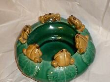 """Un signed 6 Frogs Sitting on Rim of Planter 6 1/2"""" wide x 3 1/2"""""""