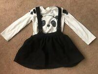 Next Girls Panda Long Sleeved Top & Skirt 18-24 Months Cute