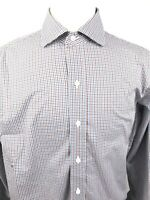 LEDBURY Mens Long Sleeve Dress Shirt Size 16.5 33 Blue Brown Check Print