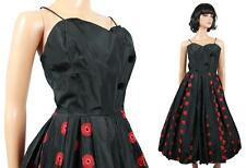50s Prom Dress Vintage Black XS Taffeta Red Embroidered Sleeveless Cocktail Gown