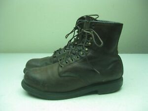 VINTAGE BROWN DISTRESSED RED WING LACE UP ANKLE PACKER STEEL TOE BOOTS SZ 10.5 D