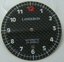 LANDERON CADRAN CARBONE INDEX BLANC POUR ETA 2824-2 DIAMETRE 36MM
