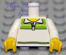 NEW Lego Girl/Boy WHITE MINIFIG TORSO - City Minifigure upper w/Green Shirt