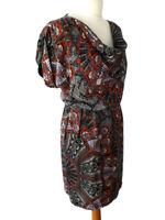 Warehouse Size 10 Black Multicoloured Feather Print Dress Short Sleeve Summer