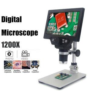 1-1200X Digital Mikroskop 7 Zoll LCD Farbbildschirm 12MP Lupe mit Alu-Ständer