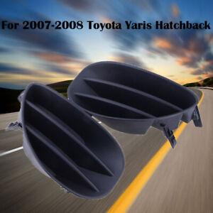 Pair Fog Light Cover For 2007-2008 Toyota Yaris Hatchback Lower Plastic Black